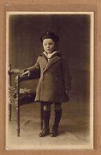 Carte Photo vintage card RPPC enfant fillette manteau habits mode fashion kh0192