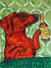 Dachshund dog art beer set of note cards notecard Jschmetz gift new