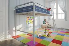 Twin Metal Loft Bed Junior Silver Kids Bedroom Child Dorm Frame With Guardrail