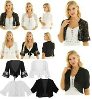 Women Daily Crop Top Tie Front Shrug Shawl Kimono Blouse Cardigan Shirt Cover Up