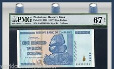 ZIMBABWE 100 TRILLION DOLLAR P91 2008 PMG67 UNC WORLD LARGEST DENOMINATION 1000