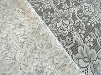 """Beige Floral Lace Fabric Remnant 48"""" Long x 29.5"""" Wide for Sewing Crafting"""