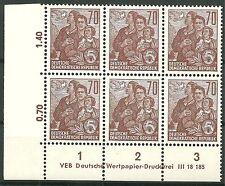 DDR MiNr. 585 B (Fünfjahrplan VI) Eckrandsechserblock mit kpl. DV postfrisch
