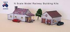 N Scale House, Garage with Rebates Model Railway Building Kit - NHG1