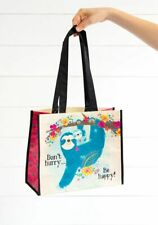 Natural Life Don't Hurry Be Happy Sloth Large Recycled Reusable Gift Bag