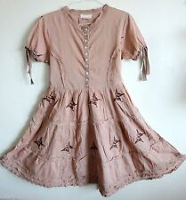 Odd Molly Quirky,Dusty Nude Pink,Brown Embroidery Butterfly Peasant Dress. L