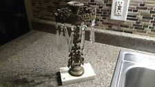 Brass candelabra Candle Vintage Ornate Cherobs Crystals Prisms Holder Angels