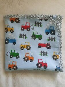 Pale Blue Tractors Flannel Baby Wrap Swaddle with hand crocheted edge 100%cotton