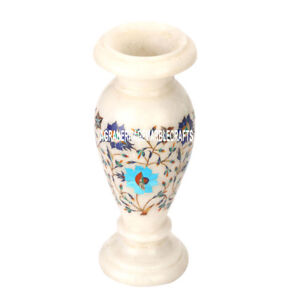 """9""""x4'' Marble Flower Vase Multi Floral Art Inlay Beautiful Home Decor Gift H3611"""