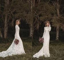 Lace Bohemian Long Sleeve Wedding Dresses Full Back Floor-length Bridal Gown New