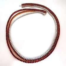 37.02ct. Natural Vivid Red Ruby Diamonds Tennis Necklace Riviera Three Link