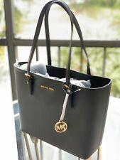 Michael Kors Medium Carryall Leather Shoulder Tote Handbag Bag black Gold Silver
