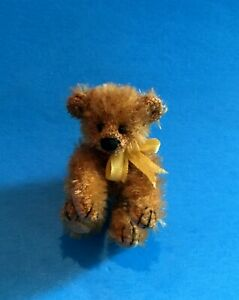 "DEB CANHAM  ""TINY TEDDY"" BROWN MOHAIR MINIATURE BEAR W/RED HEART PATCH  2"""