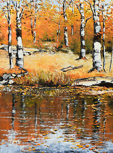 Cymbalski Lajo Oil Painting Reflections Autumn Landscape 18x24 Canadian Listed