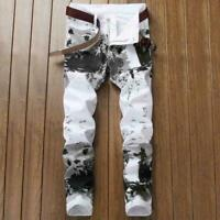 Rock Casual Pants Stretch Skinny Mens Jeans Slim Fit Trousers Biker white Print