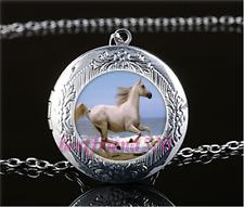 White Horse Photo Cabochon Glass Tibet Silver Locket Pendant Necklace