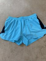 Under Armour Size Medium TEMPO Running Athletic Shorts Lined BACK Pocket Blue
