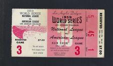 VINTAGE 1959 WORLD SERIES WHITE SOX @ LA DODGERS BASEBALL TICKET STUB GAME #3