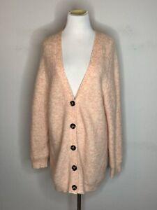 GANNI Womens Soft Wool Mohair Knit Sweater Cardigan Oversized Pink Sz M
