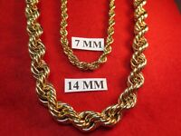 "24""-30"" HIP HOP 14 MM 14KT GOLD EP HEAVY RUN DMC BLING  BLING ROPE CHAIN"