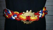 "Vtg Leather Shop Women Gold W/White Blue Red Yellow Braid Cord Belt 32"" #3413"