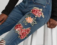 NEW $108 EXPRESS SEQUIN EMBROIDERED STRETCH LEGGINGS JEANS PANTS 00 2 6 10 12