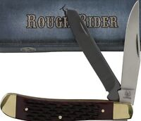 Rough Rider Red Jigged Bone Trapper Pocket Knife RR1368 2 Folding Blades
