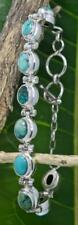 Handmade Solid Sterling Silver .925 Bali 9x Oval Turquoise Bracelet w Toggle. #2