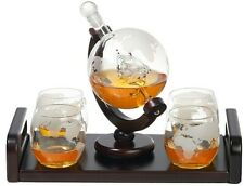 Elegant Globe Whiskey Decanter + 4 Matching Glasses + Easy-to-carry Wooden Tray