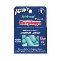 Macks  Earplugs - Soft Foam Comfort Ear Plugs 5 pairs Sleep Study Work Tools