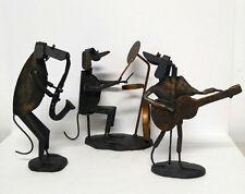 Vintage Dog Band Metal Sculpture Figurine Drum Saxophone Guitar Art Black Bronze
