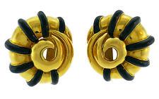 M. COOPERMAN Enamel Yellow Gold Snail EARRINGS Clip-on