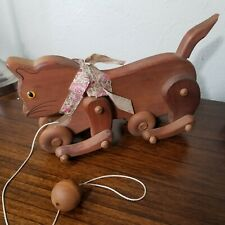 OLD ANTIQUE VTG COLLECTIBLE  HAND MADE FOLK ART WOODEN CHILD'S CAT  PULL TOY