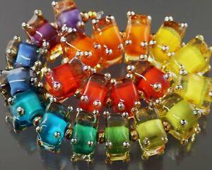 FRISKEY handmade Lampwork Glass Beads, RAINBOW CUBED !!!