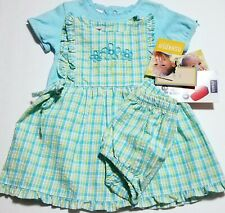 NWT Oshkosh Baby APRON DRESS+Diaper Cover+Top Blue/Green...