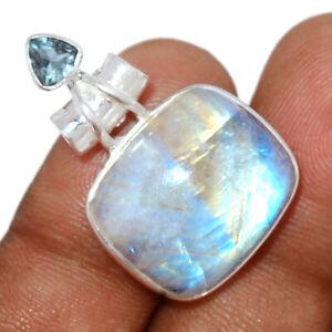 Rainbow Moonstone - India & Blue Topaz 925 Silver Pendant Jewelry BP96783
