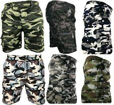Mens Army Camouflage Cargo Elasticated Shorts Combat Half Pants Bottoms Camo
