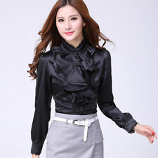 Women Lace Flounce Long Sleeve Blouse Victorian Chiffon Button Down Ruffle Shirt