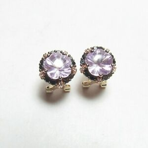 LE VIAN 14K Rose And Yellow Gold Natural Amethyst Diamond French Clip Earrings