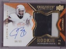 2012 UD Exquisite Justin Blackmon On Card Auto 2 Color Jersey Patch Rc # to 99
