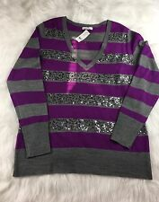 NWT NEW YORK & COMPANY Purple Gray Sequin Striped V-Neck L/S  Sweater Sz XL