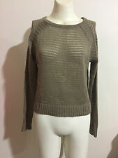 Knitted Jumper Top Ribbed Long Sleeve Scoop Neck Soft Slouch ICE Stone Brown XS