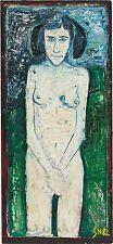 Billy Childish painting signed Hamper of Woman Female Nude Blue Vintage Vintage