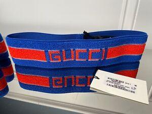 Gucci Headband Sweatband Tennis Web Blue Red Wristband Set  size medium