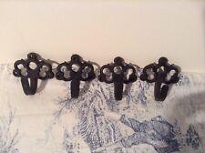 Set of 4 Vintage French Black Metal Hooks - Coat, Key (2674a)