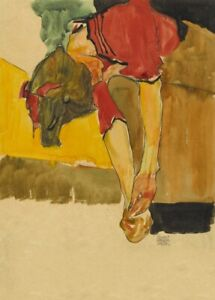 Girl Putting on Shoe, 1910, EGON SCHIELE Expressionism Vienna Secession Poster