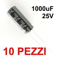 10 pezzi Condensatori Elettrolitici Panasonic 1000uF 25V 105°C 10x25mm