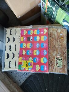 Gift wrap wrapping paper 3 cupcake, bacon, or mustache moustache novelty gag