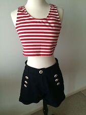 BETTIE PAGE Red & White Striped Tank size L and Navy Sailor Shorts Size L NWOT