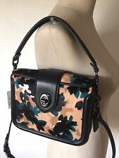Coach Page Crossbody in Printed Velvety Haircalf Scattered Leaf motif 38447 NWT